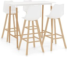 Mesa alta y taburetes de bar 5 piezas blanco -