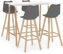 Mesa alta y taburetes de bar 5 piezas gris - Gris