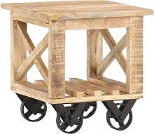 Mesa auxiliar con ruedas madera de mango rugosa