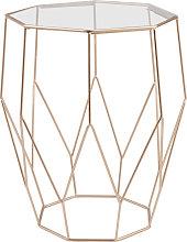 Mesa auxiliar de alambre de metal y cristal