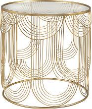 Mesa auxiliar de cristal templado y alambre de