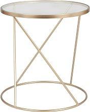 Mesa auxiliar de cristal y metal dorado