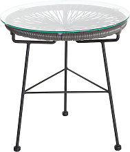Mesa auxiliar de jardín hilo de resina gris