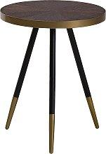 Mesa auxiliar de madera con patas en negro/dorado