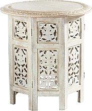 Mesa auxiliar de madera de mango tallada blanca