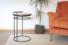 Mesa auxiliar de madera y metal Cino