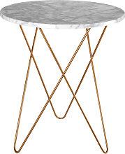 Mesa auxiliar de mármol claro y metal dorado