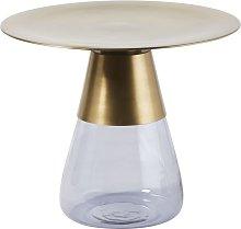 Mesa auxiliar de metal dorado y cristal ahumado