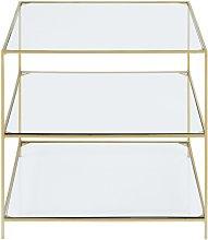Mesa auxiliar de metal dorado y cristal