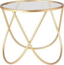 Mesa auxiliar de metal dorado y vidrio