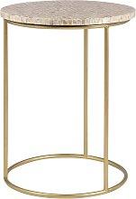 Mesa auxiliar de metal dorado