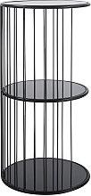 Mesa auxiliar de metal negro mate y cristal