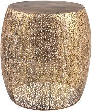 Mesa auxiliar de metal perforado dorado mate