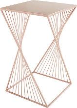 Mesa auxiliar de metal rosa