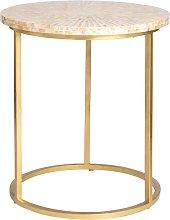 Mesa auxiliar de nácar y metal dorado
