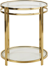 Mesa auxiliar doble con tableros de cristal y