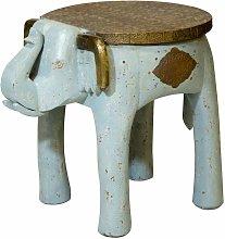 Mesa auxiliar elefante oriental AZUL ORO aspecto