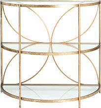 Mesa auxiliar media luna de metal dorado y cristal