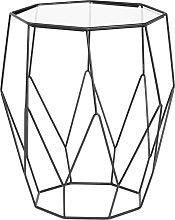 Mesa auxiliar octogonal de metal negro y cristal