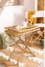 Mesa Auxiliar Plegable con Bandeja en Bambú