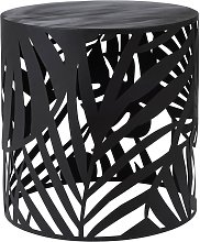 Mesa auxiliar redonda de metal calado negro mate