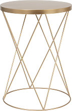 Mesa auxiliar redonda de metal dorado mate