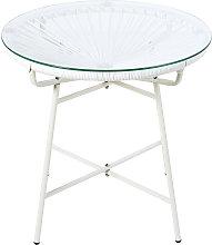 Mesa baja de jardín de resina blanca y cristal