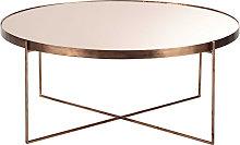 Mesa baja redonda con espejo de metal cobrizo