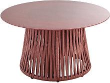 Mesa baja redonda de jardín de cristal templado y