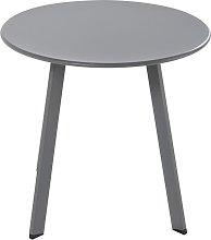 Mesa baja redonda de jardín de metal gris
