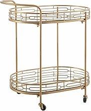 Mesa camarera ovalada de espejo y metal dorada