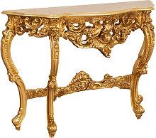 Mesa Consola De Madera Con Acabado En Pan De Oro