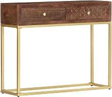 Mesa consola de madera maciza de mango 90x30x75 cm
