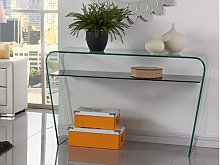 Mesa consola KELLY - Cristal curvado - Repisa