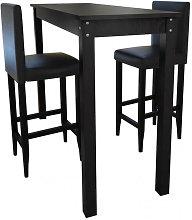 Mesa de bar con 2 sillas de barra negras Vida XL