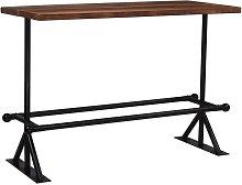 Mesa de bar madera maciza reciclada marron oscuro