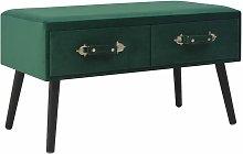Mesa de centro de terciopelo verde 80x40x46 cm