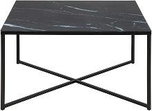 Mesa de centro efecto mármol negro patas metal
