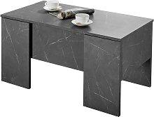 Mesa de centro elevable efecto mármol negro L92