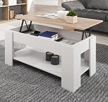 Mesa de centro elevable Nicoleta color blanco y