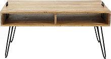 Mesa de centro en madera de acacia y metal negro