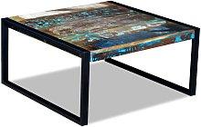 Mesa de centro madera maciza reciclada 80x80x40 cm