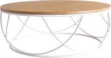 Mesa de centro madera y metal blanco redonda 80 cm