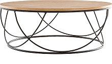 Mesa de centro madera y metal negro redonda 80cm