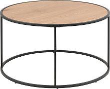 Mesa de centro redonda madera y metal negro D80 cm