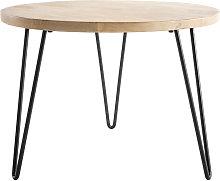Mesa de centro redonda mango patas horquilla metal