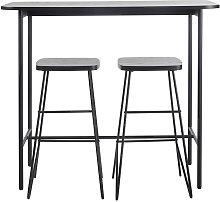 Mesa de comedor alta con 2 taburetes, negro mate,