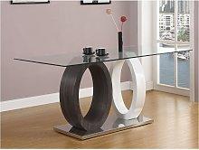 Mesa de comedor AYANE - Cristal templado y MDF -