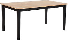 Mesa de comedor en madera clara/negro 150x90 cm