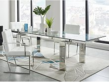 Mesa de comedor extensible LUBANA - Cristal